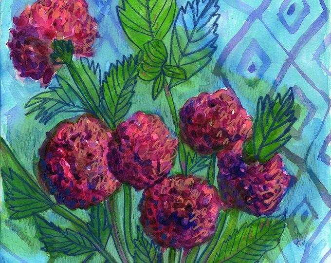 Pot Of Dahlias, Flower Illustration Wall Art, Flower Decor, Botanical Print, Archival Wall Art Unframed Print