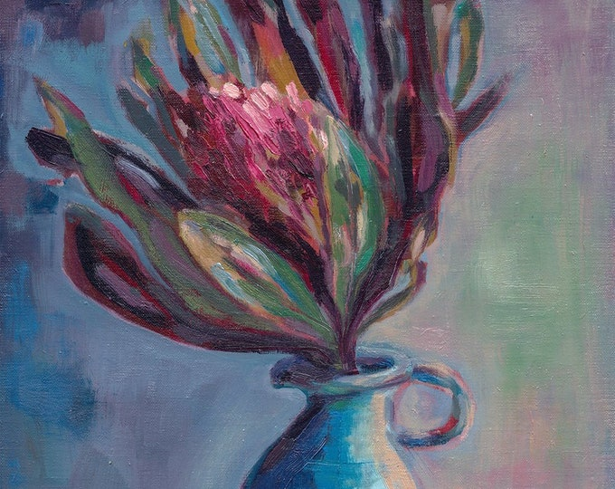 Be Still Protea Painting Archival Wall Art Print botanical Australian Native art prints