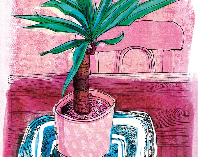 SALE Little Palm Wall Art Print house plant illustration pink and green - half price sale