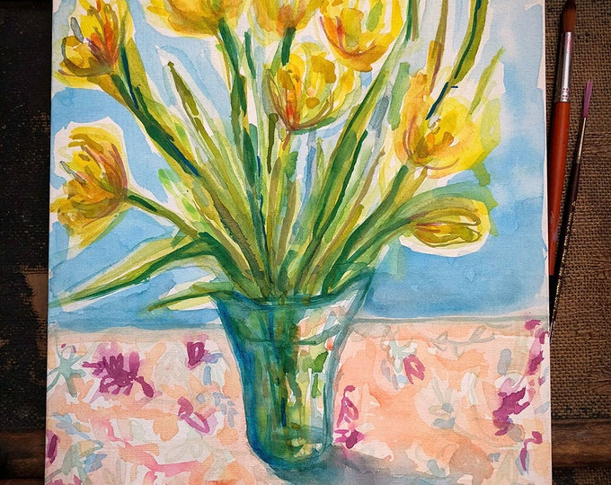 Original watercolour and acrylic painting on canvas board Yellow Tulips  artwork by Paula Mills wall art