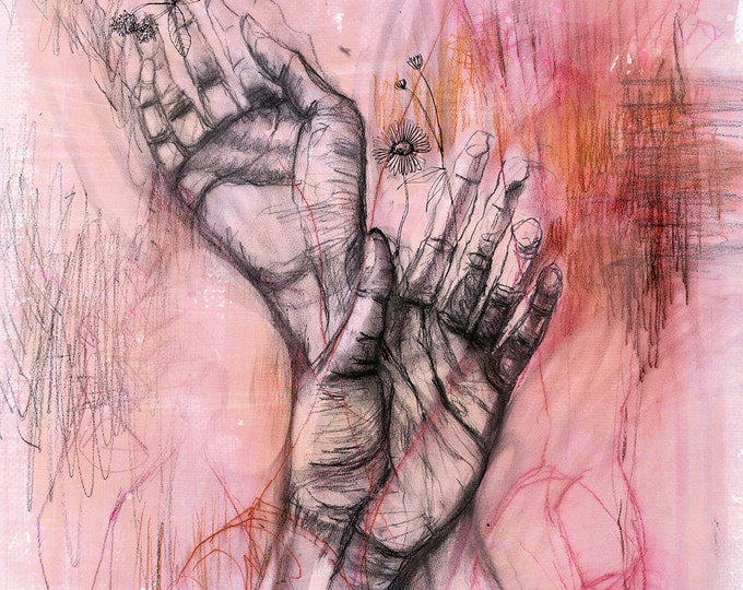 Hands Archival Wall Art Print Illustration Pencil Drawing