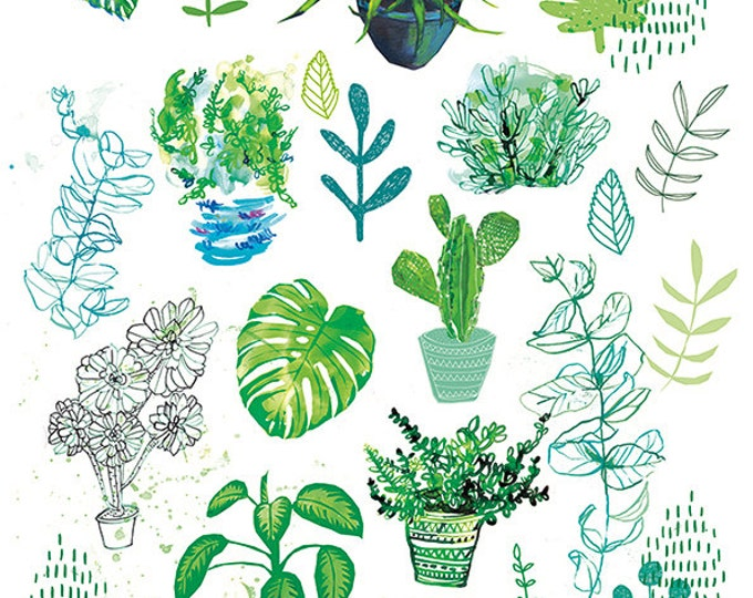 SALE All My Plants Archival Wall Art Print botanical illustration - half price vertical unframed print