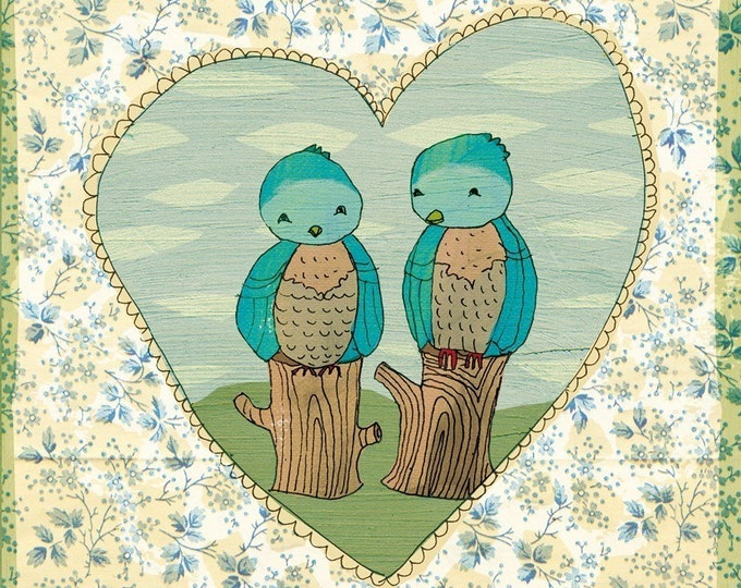 SALE Love Birds art print A4