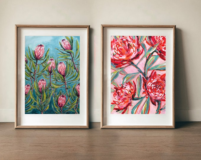 Set of 2 Art Prints Protea and Waratah Botanical Art Australian Native