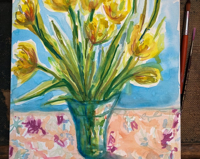 Original watercolour and acrylic painting on canvas board Yellow Tulips  artwork by Paula Mills wall art Botanical Wall Art