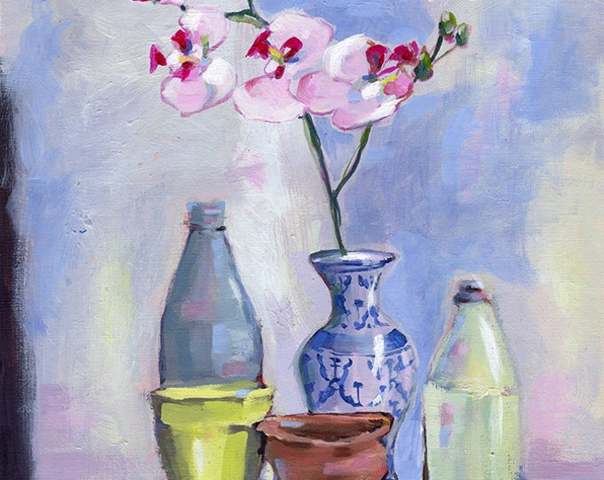 China Vase Wall Art Print  of Still Life Painting with Orchid decor