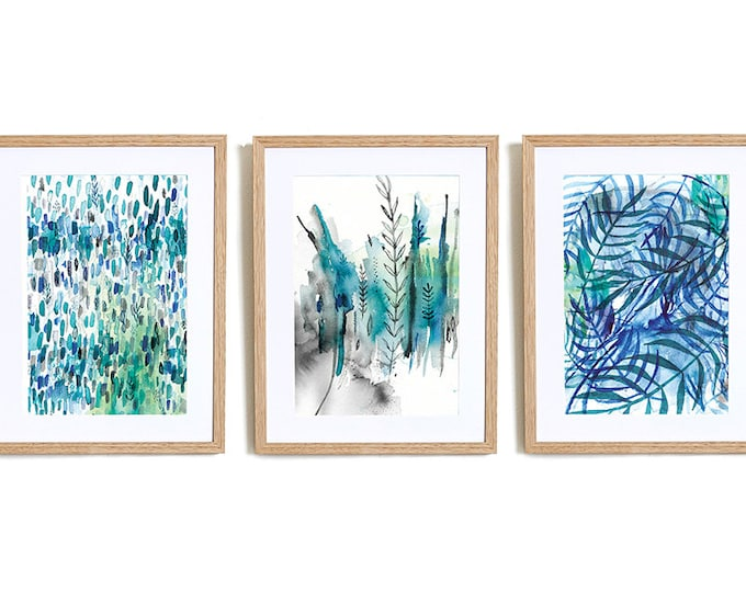 Set of 3 Nature In Blue Wall Art Prints abstract illustration in blue ink Botanical Wall Art