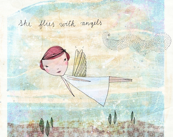 She Flies With Angels archival Wall art print illustration KIDS DECOR
