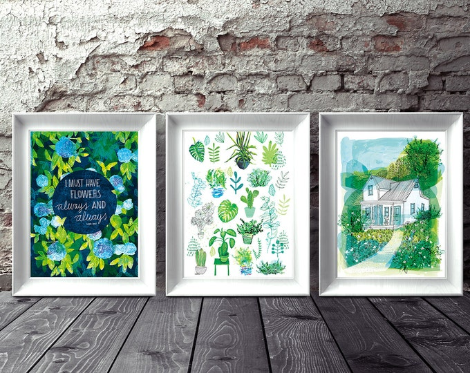 Happiness of Home  Set of 3 Wall Art prints hand drawn illustration