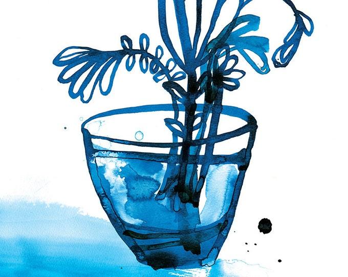 SALE Blue Vase Unframed Archival Giclee Wall Art Print watercolour botanical illustration