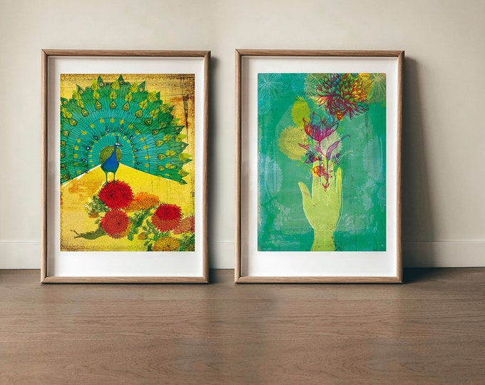 Set of 2  Wall Art Prints  Peacock and Gift Botanical art decor