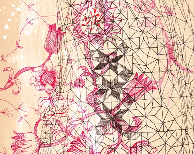 Red Ink Study Wall Art Print botanical illustration