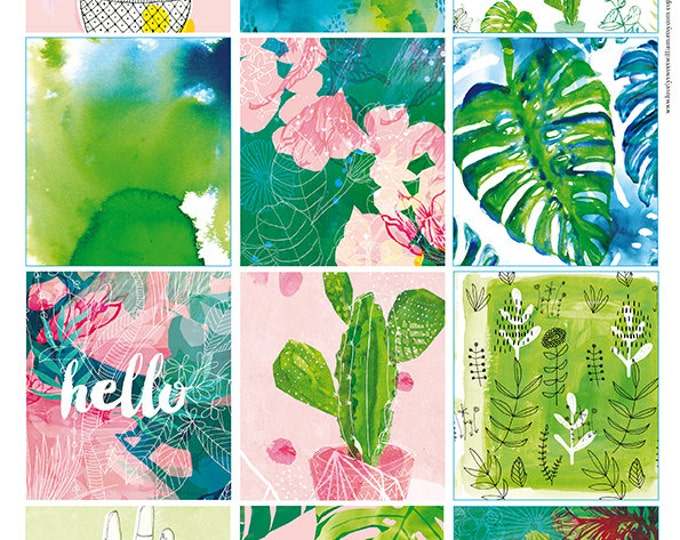 Green Plant Tags, Instant Digital Download, Set of 12 Sweet William illustrative tags, scrapbook, personal use, clip art