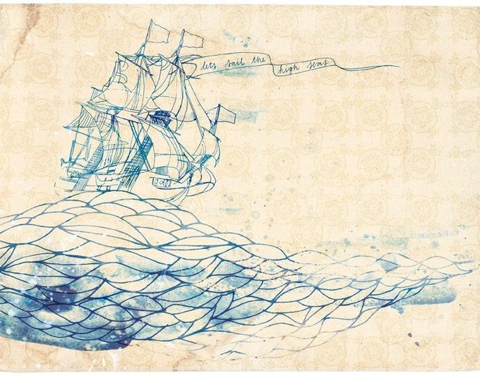 High Seas Wall Art Print - ship ink illustration