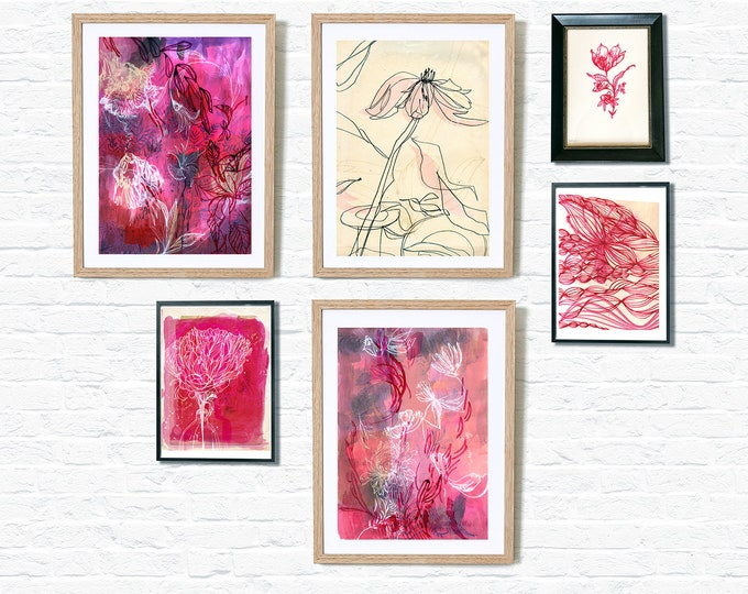 Instant Collection Gallery Wall Set of 6 Pink Wall Art Prints  botanical illustration