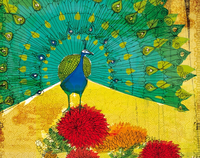 Peacock Wall Art Print illustration  turquoise and yellow art