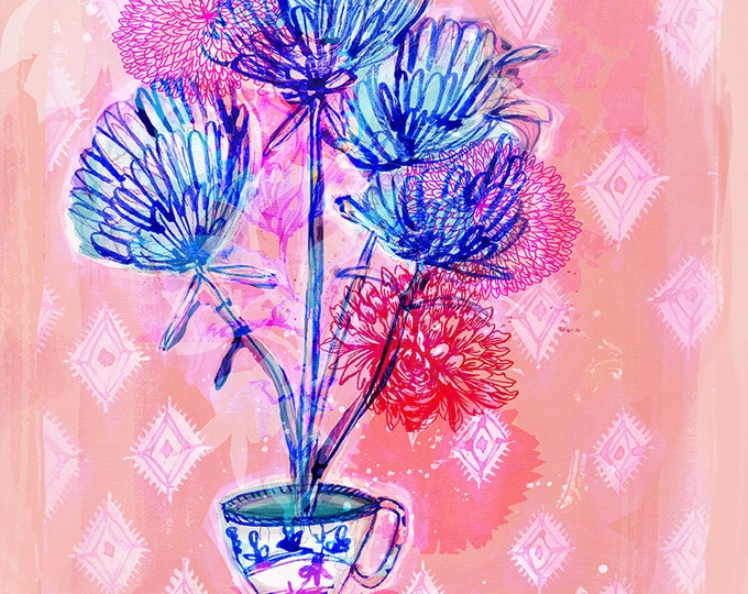 SALE Calming Tea Floral Archival Wall Art Print