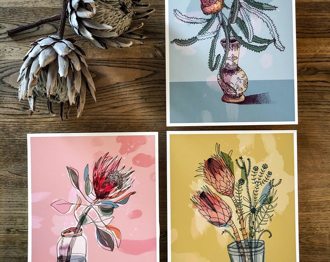 Set of 3 Australian Native Art Prints  botanical illustration