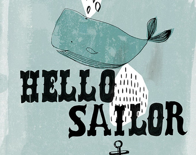 Hello Sailor Instant download DIY printing illustration kids decor wall art
