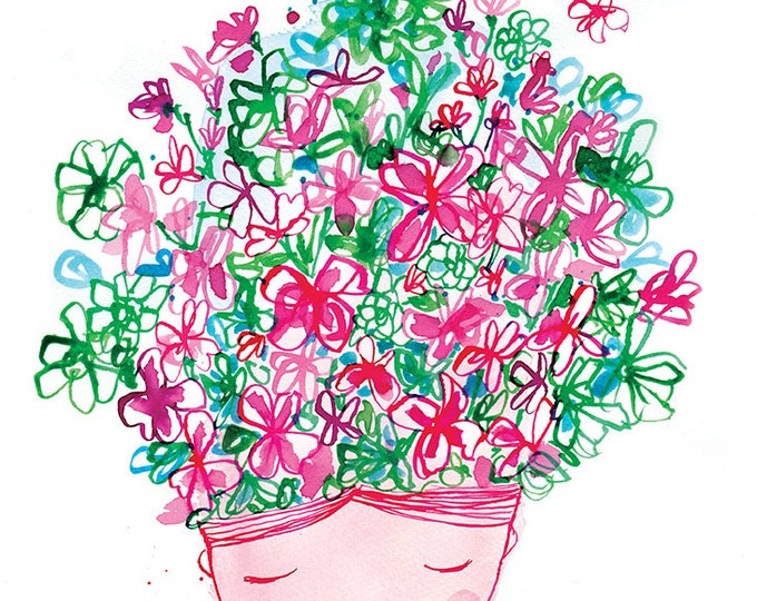 SALE Spring Flower Head Wall Art Print Kids Decor