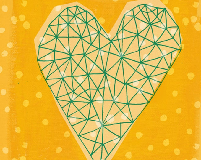 SALE  Geometric Heart in Yellow Archival Wall Art Print Decor