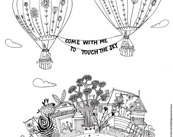 Colouring in page printable illustration instant download Touch The Sky