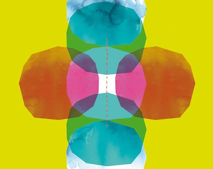 SALE Green Cross Journey Bright Geometric Archival Quality Wall Art Print - small and medium size
