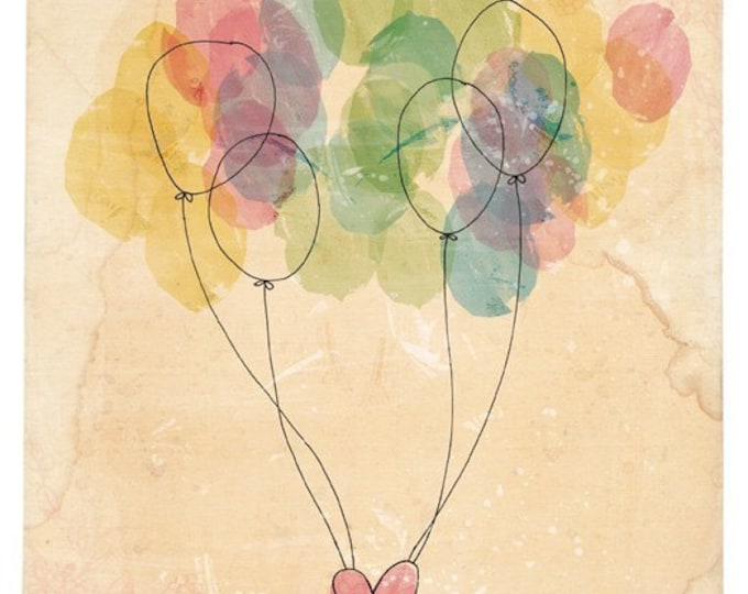 Free Love Archival Wall Art Print Nursery Children's Art Balloons kids decor