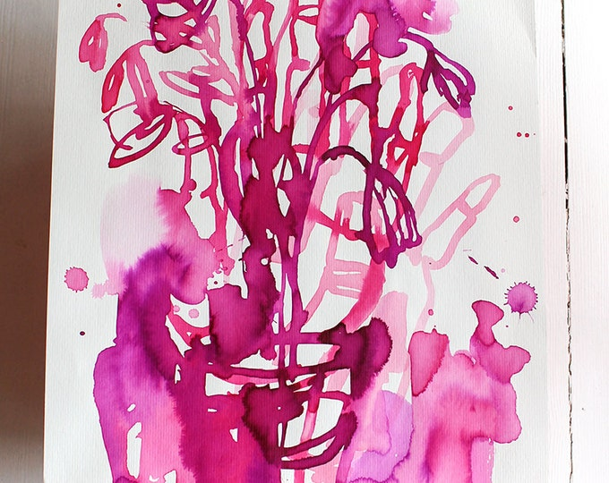 Original Watercolor artwork Magenta Flowers watercolour original painting by Paula Mills wall art