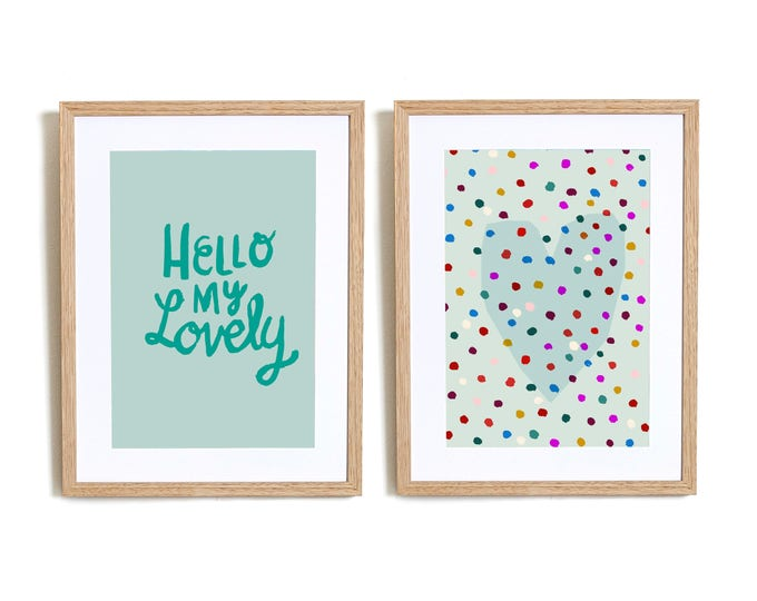 SALE Set of 2  Hello My lovely in Blue  Wall art prints nursery illustration kids decor