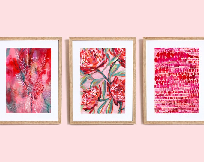 Set of 3 Pink and Red wall Art Prints  botanical illustration