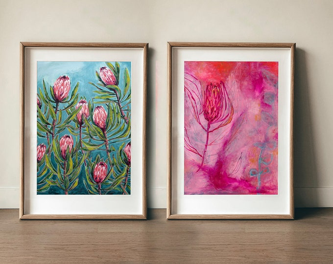 Set of 2 Protea Art Prints