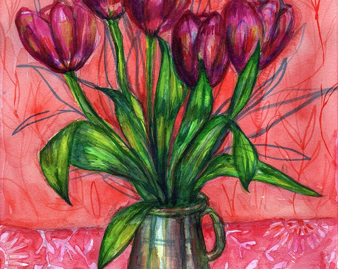 Pink On Red Tulips Floral Still Life Illustration Wall Art, Flower Decor, Botanical Print, Archival Wall Art Unframed Print