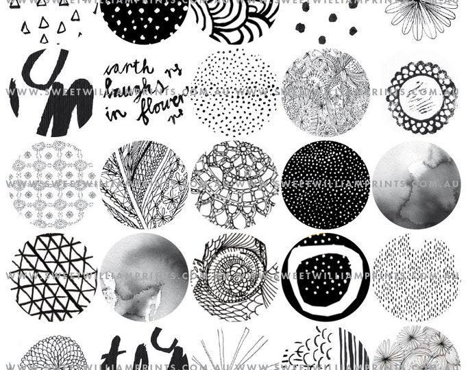 DIY PRINTABLE black and white graphics, 1.5 inch circles, digital download, PDF printable, instant, scrapbook, journal