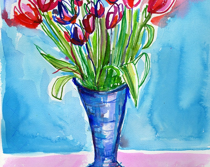 Spring Tulips Wall Art Print botanical watercolour illustration in blue and pink ink