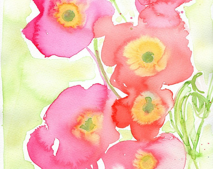 SALE Pink on Green Poppies Archival Wall Art Print Illustration