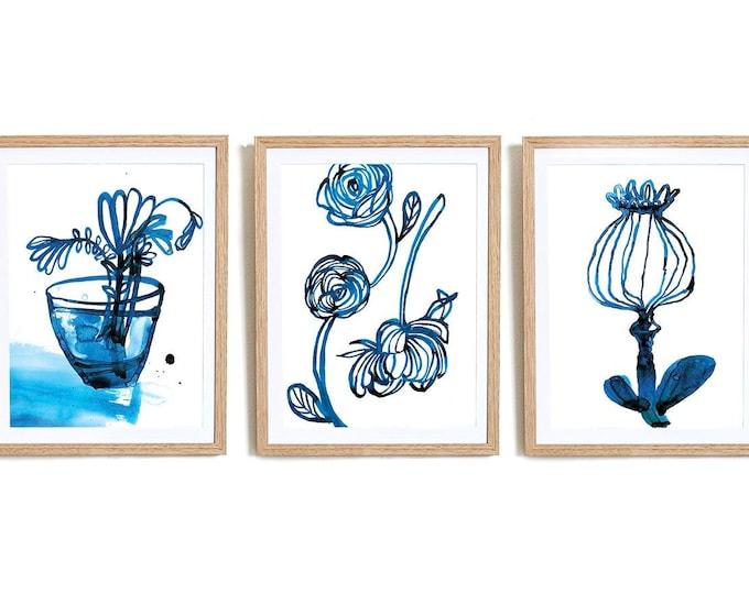 Set of 3 Inky Blue Archival Wall Art Prints Botanical Art Print Flower Decor, Botanical Print, Archival Wall Art Unframed Print