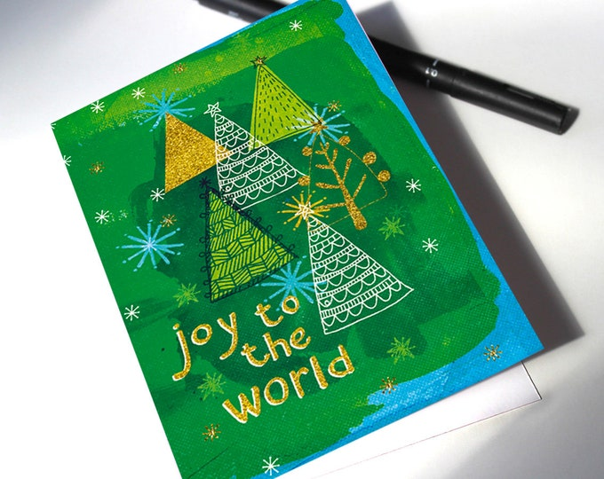 Instant Download Christmas Card Joy with Trees printable digital download