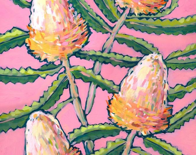 Pink Banksia Painting Wall Art Print Botanical Home Decor, Botanical Print, Archival Wall Art Unframed Print