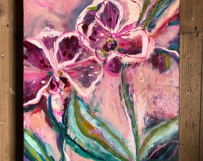 Pink Orchids Oil Painting on Board Original Botanical Wall Art