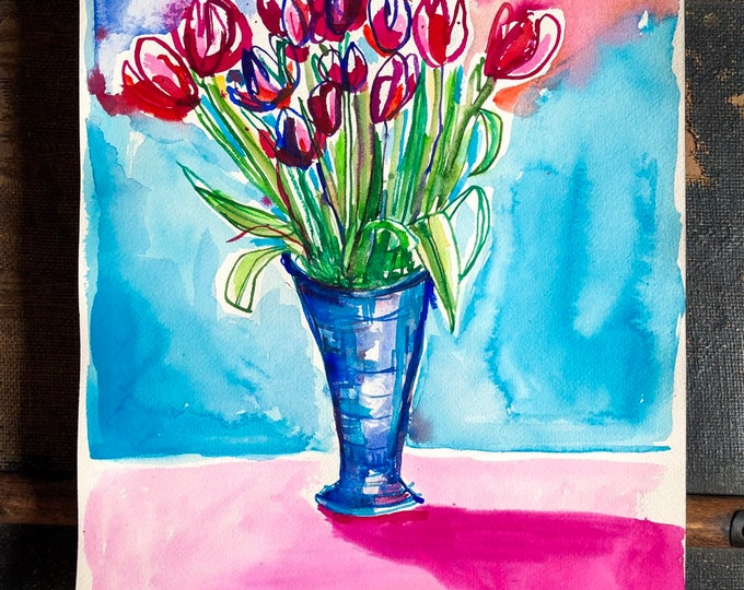Original watercolor and ink painting on paper Spring Tulips artwork by Paula Mills Botanical Wall Art