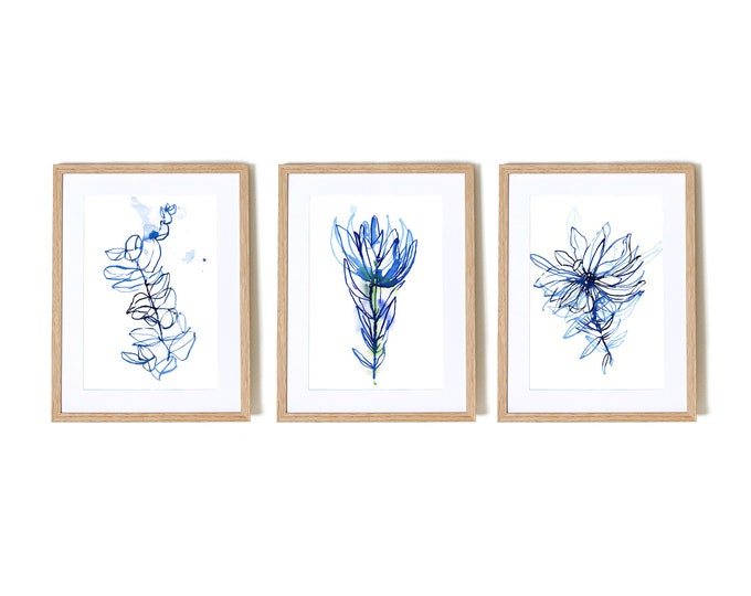 Blue Botanical Watercolour Set of 3 botanical illustration wall art prints