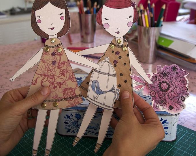 Paper Dolls, instant downlaod, printable, 2 dolls per sheet,  DIY from Sweet William illustrations
