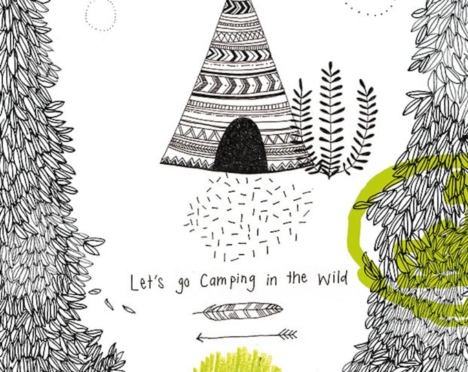 SALE Camping In the Wild No 1 Archival Wall Art Print KIds Decor