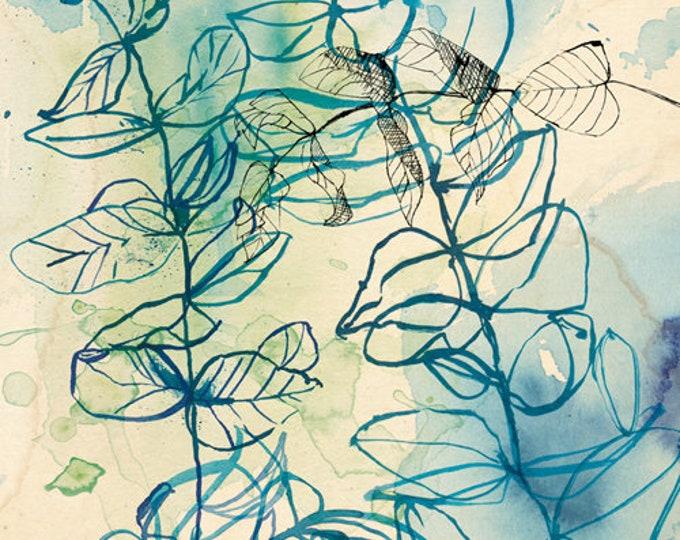 Blue Wash Leaf botanical blue - Digital Download Paula Mills Illustration