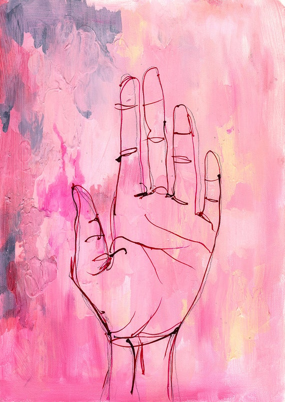 Hold Painting Archival Wall Art Print Illustration