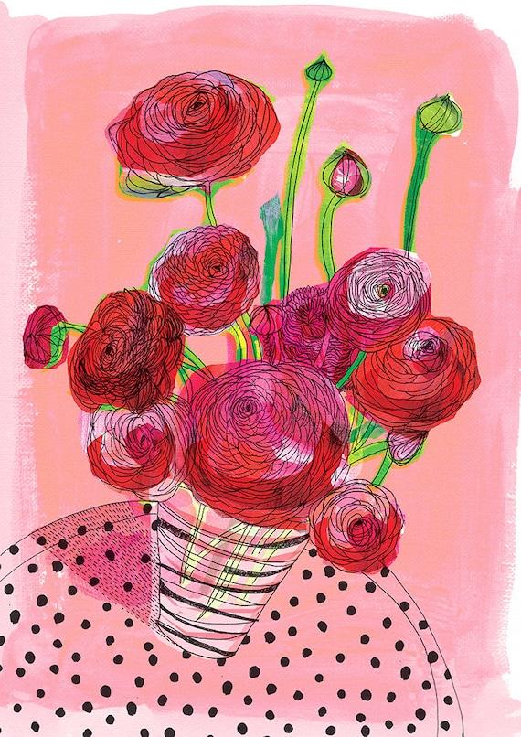 Flowers On My Table Wall Art Print botanical illustration