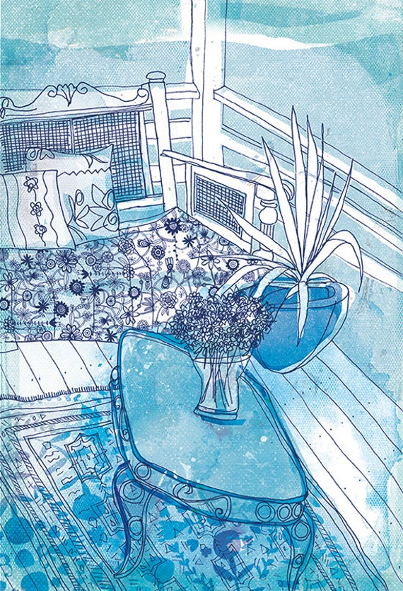 On the Deck Blue and White Archival Art Print