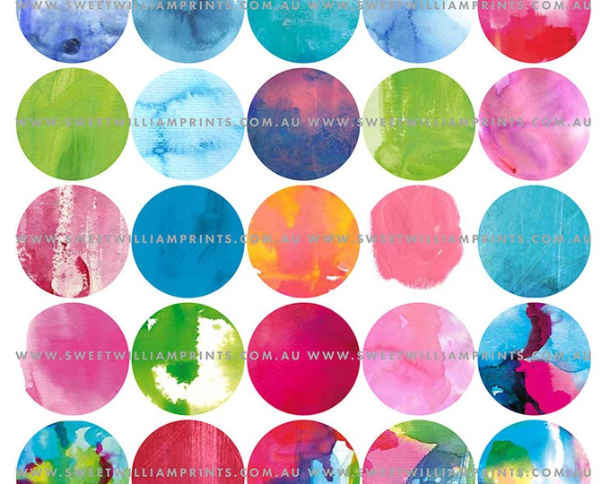 DIY PRINTABLE 1.5 inch painted circles, instant digital download, for gift tags, collage and journaling, junk journal digital collage