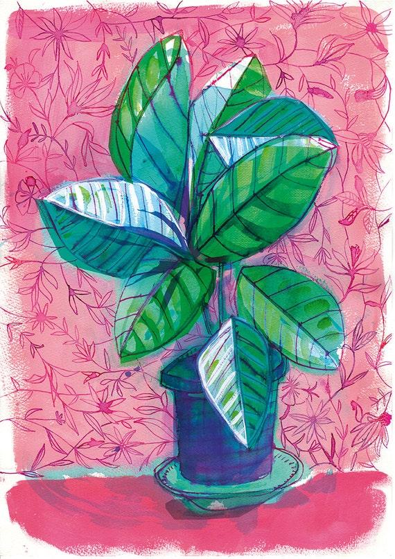 Happy House Plant Archival Wall Art Print hand drawn illustration